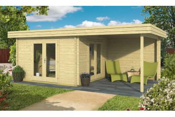 Abri de jardin BETHUNE 44 mm - 11.13 m² intérieur + 8.86 m²