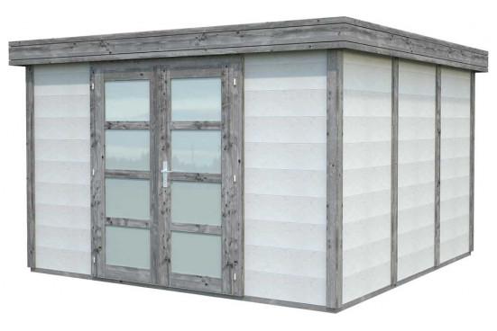 Abri toit plat Noah bois-béton - 9.83m² intérieur