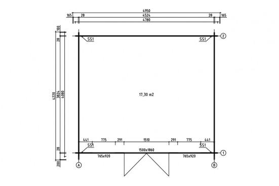 Abri de jardin toit double pente SEINE 28 mm - 17,5m² intérieur