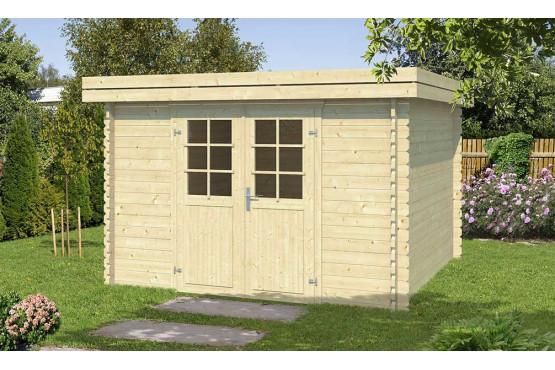 Abri de jardin en bois Figeac 34mm - 8.60m² intérieur - toit plat