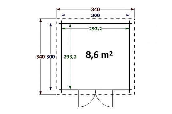 Abri de jardins bois Figeac 34mm - 8.60m² intérieur - toit plat