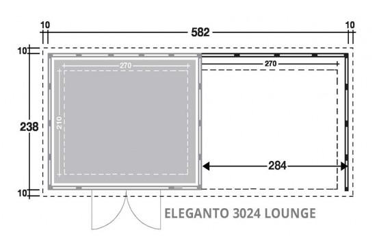 Abri toit plat métal Eléganto 3024 Lounge dim 582x238 cm 1 porte double