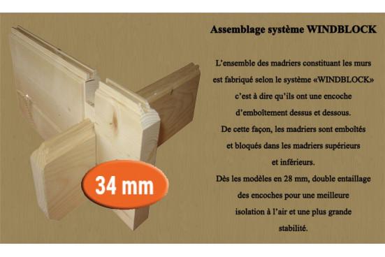 Abri préau ROCHEFORT 34 mm - 5m² intérieur