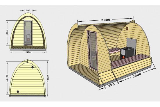 Sauna insolite Pod 300 d'extérieur - 2 à 4 personnes