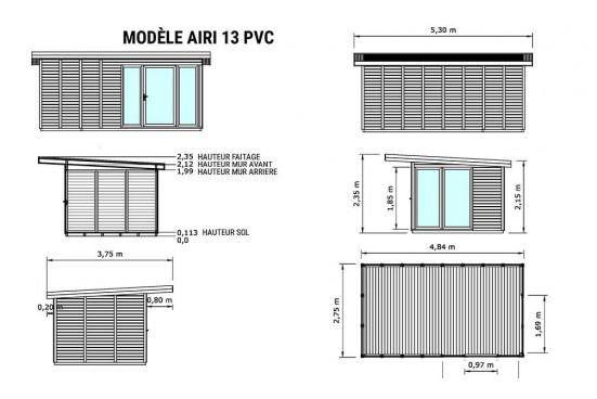 Bureau chalet bois AIRI 13 menuiseries PVC - 12.30 m² intérieur