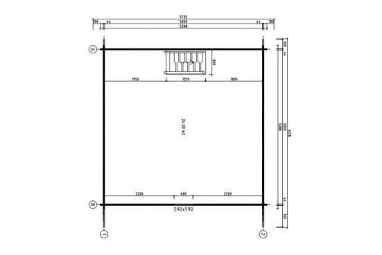 Chalet Mezzanine Bruges 25 2 pièces - madriers 44mm - 25 + 25m² intérieur
