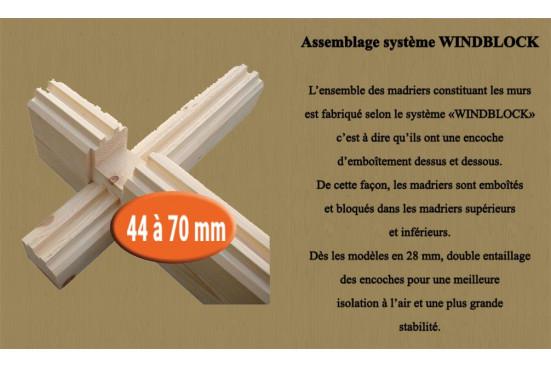 Chalet mezzanine Perpignan 20 SDB madriers 44mm - 20 + 20m² intérieur