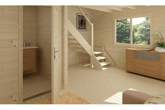 Chalet mezzanine Perpignan 25 SDB madriers 44mm - 20 + 20m² intérieur