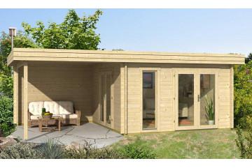 Abri de jardin RODEZ 70 mm CC - 12,33 m² intérieur + 9,31m²