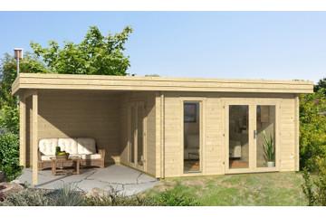 Abri de jardin RODEZ 44 mm - 12,3 m² intérieur + 9,4m²