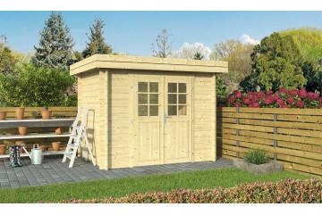 Abri de jardin 28mm, abri bois Rose 5, toit plat, 4.42m² intérieur