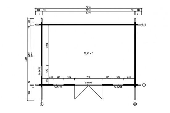 Abri de jardin BARBADOS 2 70mm contrecollés - 16.4m²intérieur