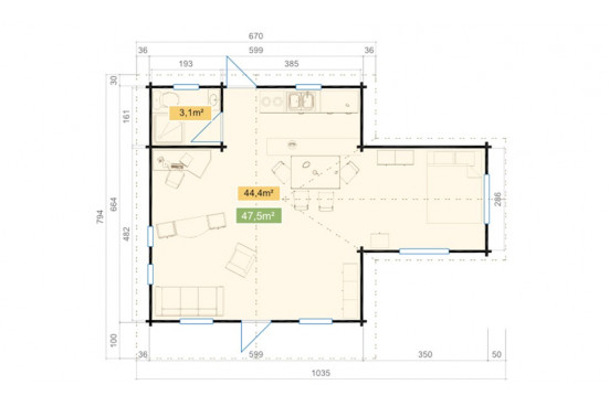 Chalet de loisirs Columbia 70 mm CC -42,34 + 10 m²-619 x 885 cm