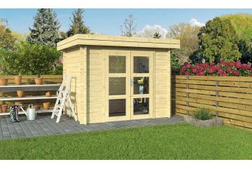 Abri de jardin en bois 28mm, toit plat, 4.42m² intérieur