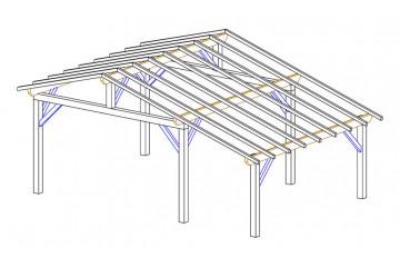 Carport 2 voitures Vincennes 24 - asymétrique - 29.25 m² non couvert