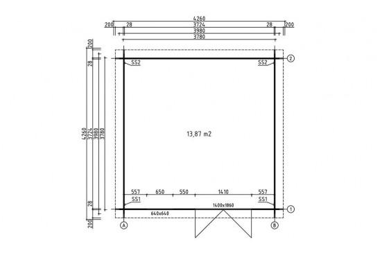 Montage abri de jardin bois LYON 15 28 mm - 13.87 m² intérieur