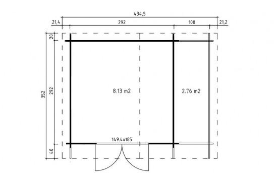 Abri de jardin ROUBAIX LM - 34mm - 8,6m² intérieur - bûcher à droite
