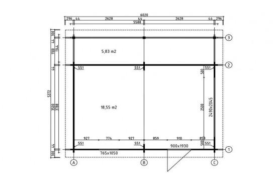 Abri de jardin Nantes 44mm - 18,6m² intérieur