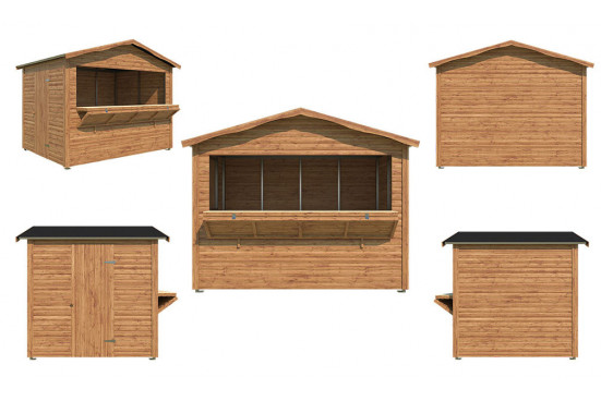 Kiosque commercial Senja démontable bardage bois