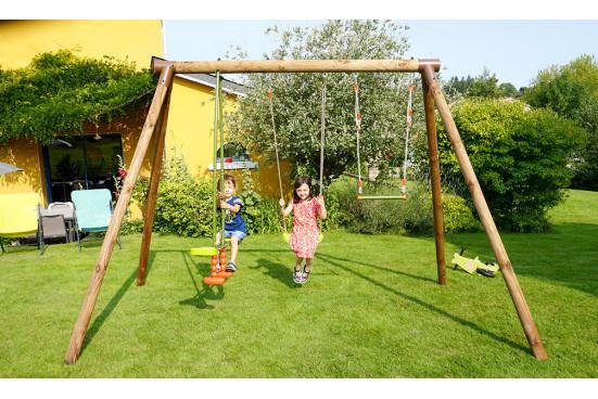 Portique pour enfants en bois traité autoclave Paul - 3 agrès