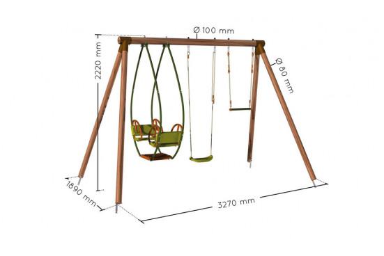 Portique pour enfants en bois traité autoclave Milo - 3 agrès