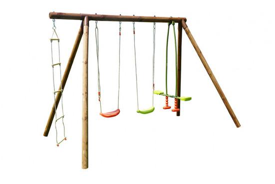 Portique pour enfants en bois traité autoclave Gabin - 4 agrès