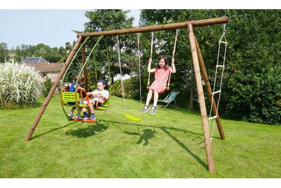 Portique pour enfants en bois traité autoclave Juliette - 4 agrès