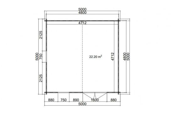 Abri de jardin EDMONTON 1 44 mm - 22,2m² intérieur