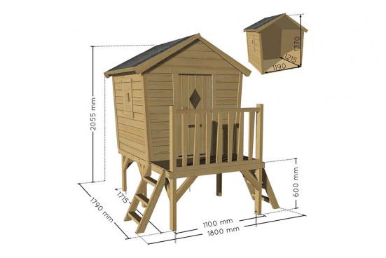 Cabane en bois pour enfants sur pilotis Louane - 1,34 m² intérieur
