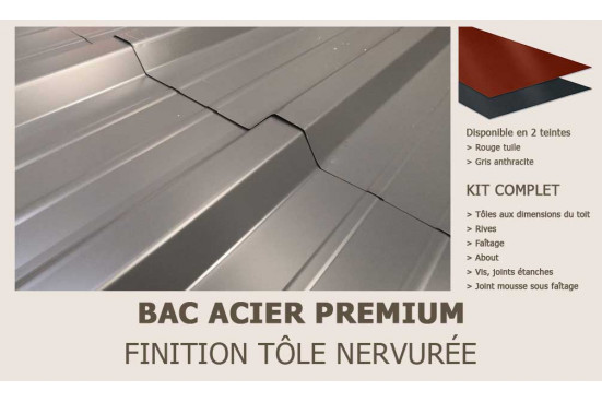 KIT Bac acier plat rouge ou gris anthracite pour Capbreton 44