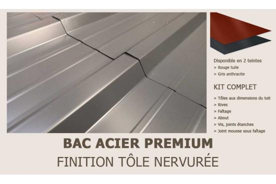 KIT Bac acier plat rouge ou gris anthracite pour Rodez