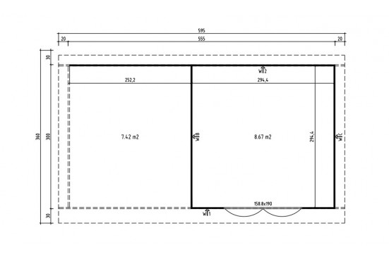 Abri de jardin CHATEL 6 28mm - 8.67m² intérieur + 7.42m²