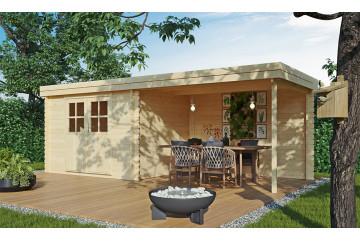 Abri de jardin Piana 34mm - 5.82m² intérieur + préau 6.32m²