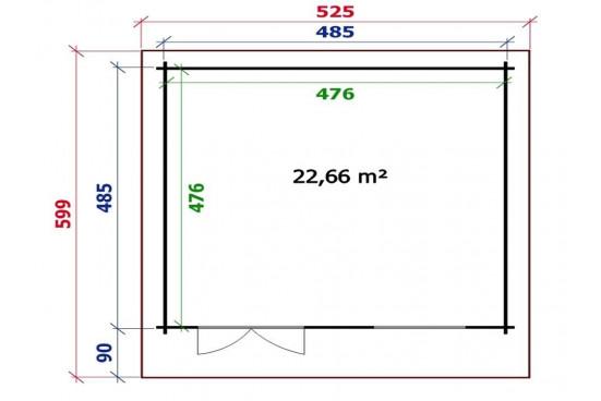 grand abri de jardin SEVILLE 44 mm - 22,7m² intérieur