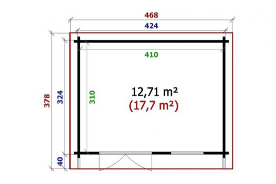 Abri de jardin Anglet madriers contrecollés 70cc - 12,7m² intérieur