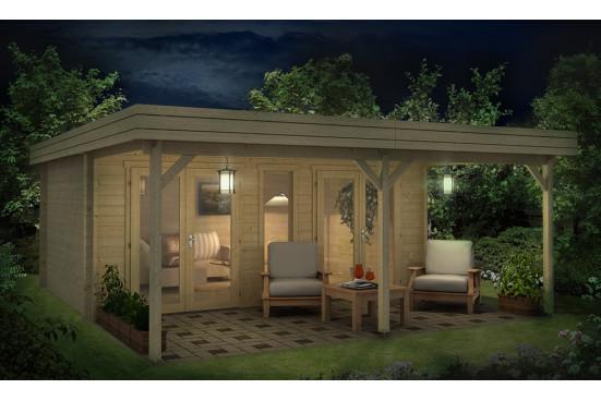 Abri de jardin PELISSANNE 44mm - 17.78m² intérieur + 15.96 m²