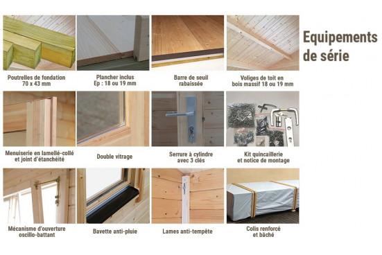chalets en bois ORLEANS 44 mm - 12,3m² intérieur + 12,3m²