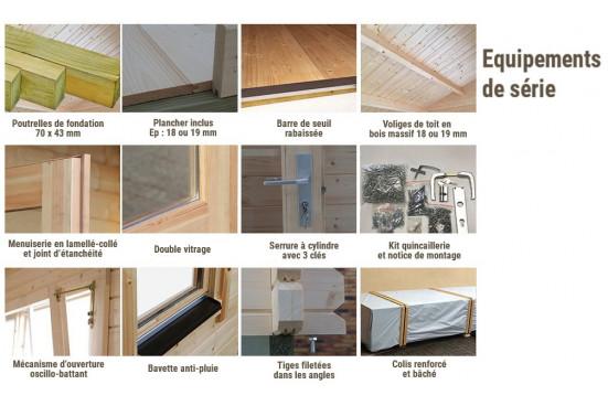 Abri de jardin FONTAINEBLEAU 1 44 mm - 22,2m² intérieur