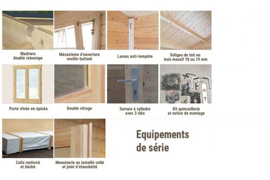 chalet en bois CANNES 44mm WC - 16,8m² intérieur