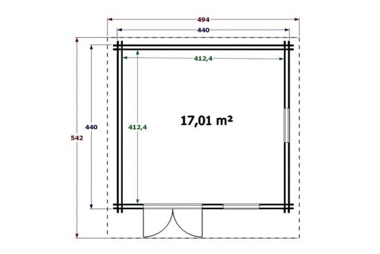 grand chalet AURILLAC double paroi 34/70/34 mm - 17.01m² intérieur
