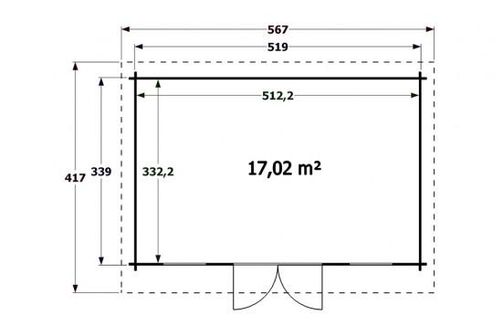chalets en bois CANNES 44mm - 16,8m² intérieur