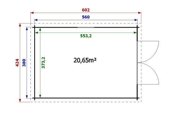 Garage en bois GRAND LIMOUSIN 34mm
