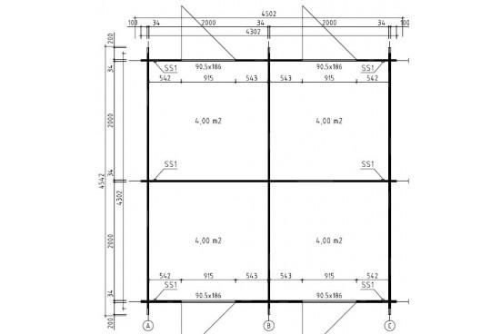 Abri de jardin OUVRIER 4 34 mm-16m² intérieur, idéalement pour jardins familiaux et ouvriers